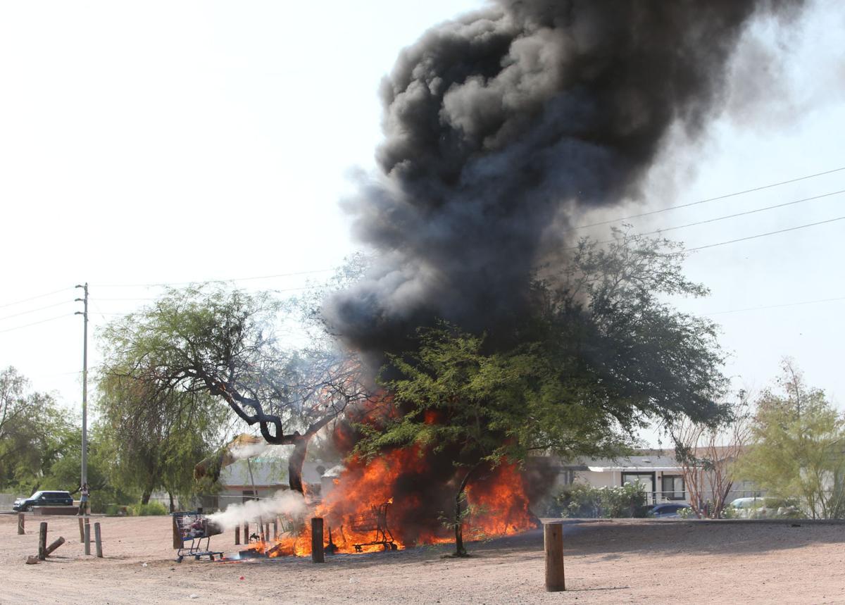 Homeless encampment burns
