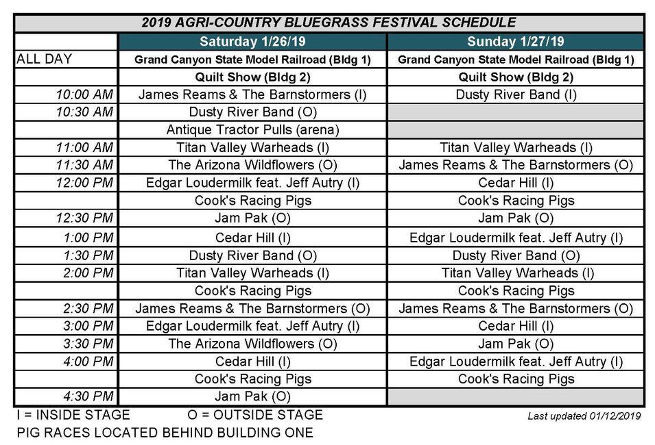 2019 Agri-Country Bluegrass Festival schedule