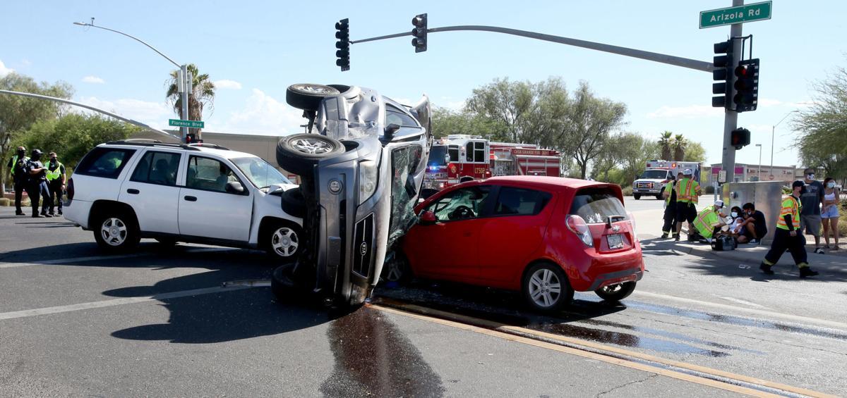 Three vehicle collision