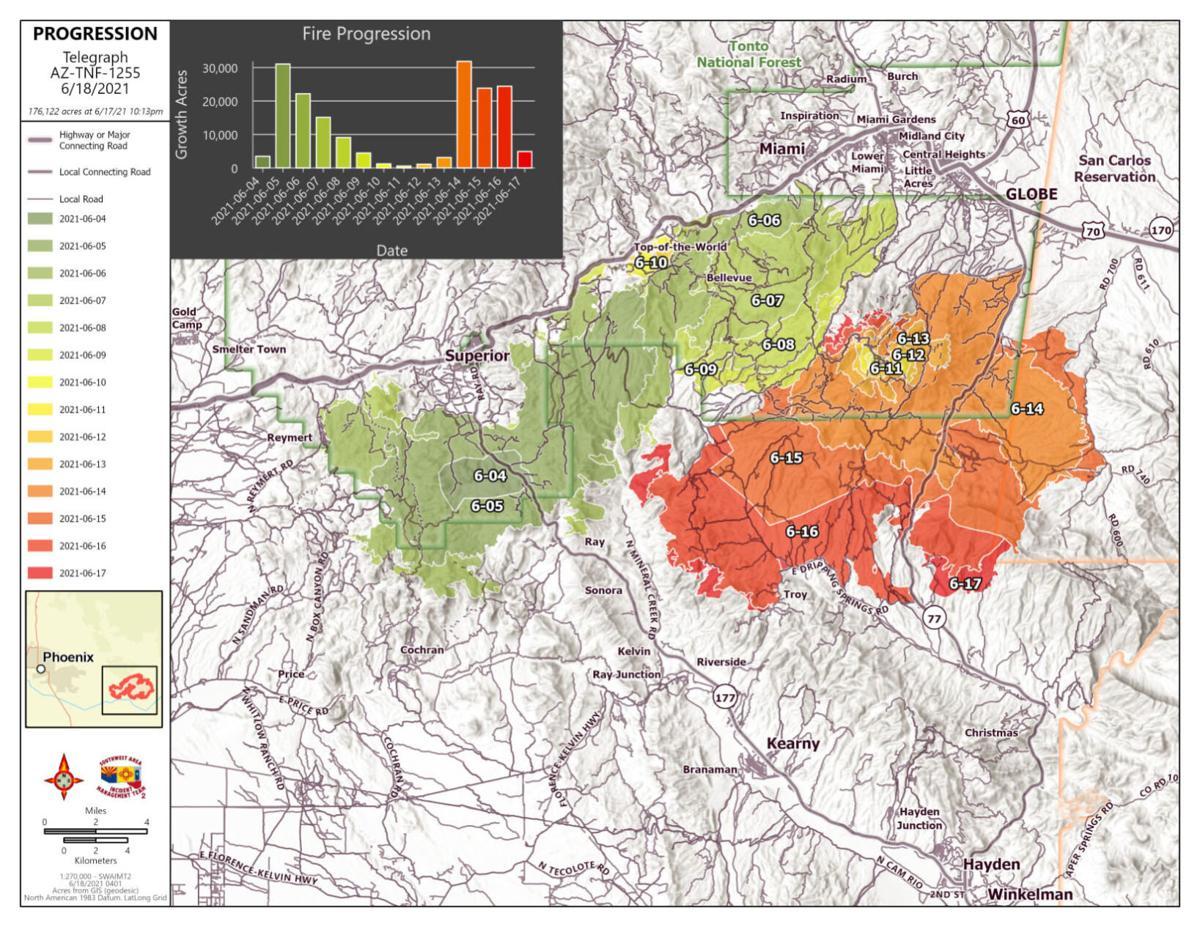 Telegraph fire map 6/18/21