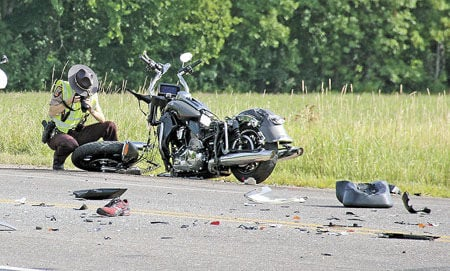 Car collides with multiple motorcycles