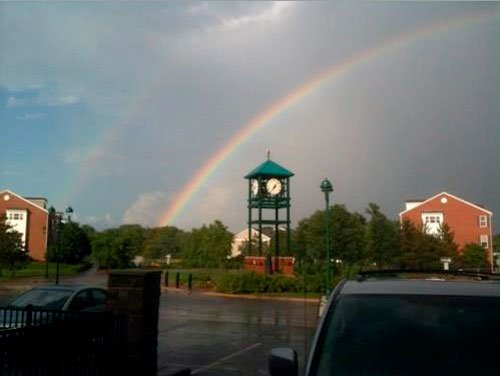 Rainbow over Historic Clock Tower Roundabout in Ci