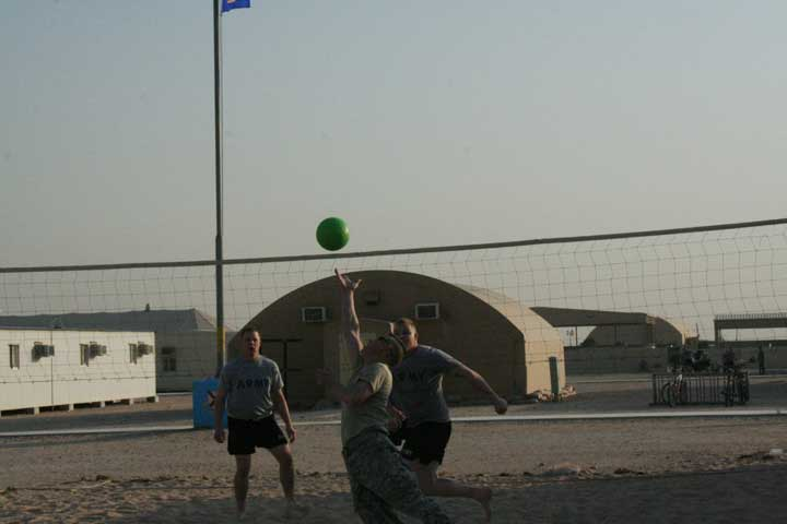 Members of the Pine City National Guard unit took advantage of a sunny Christmas Eve in Kuwait to play volleyball outside the barracks
