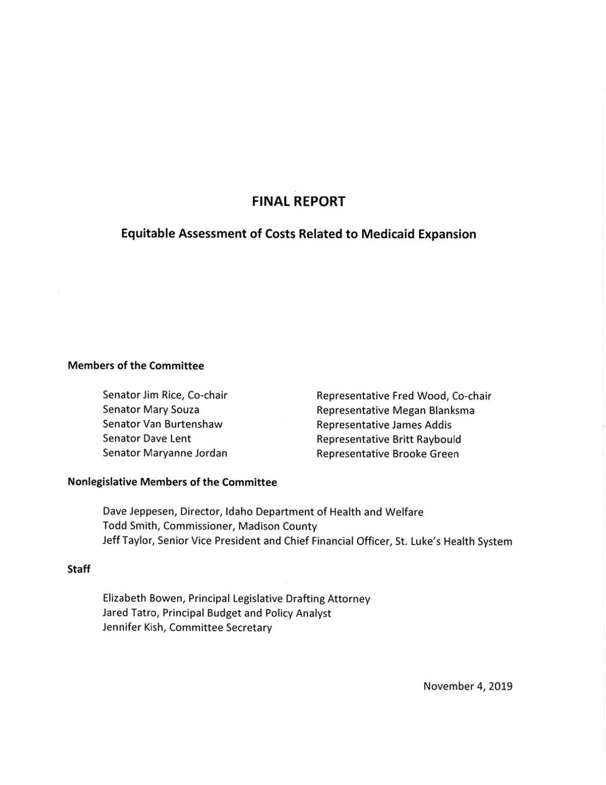 Medicaid funding committee report