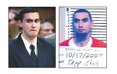 RIGHT: Christopher Tapp reacts to his guilty verdict during his 1998 trial. Tapp was sentenced to 30 years for the 1996 murder of Angie Dodge.  Post Register file