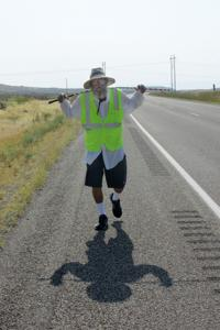 Who is this walking man? Cross-the-nation walker passes through Idaho Falls