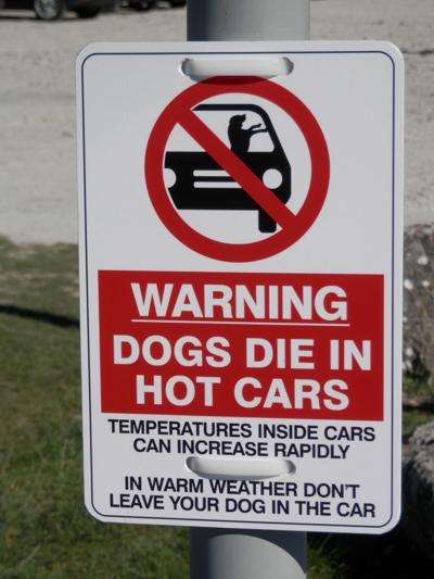 Warning sign in car park