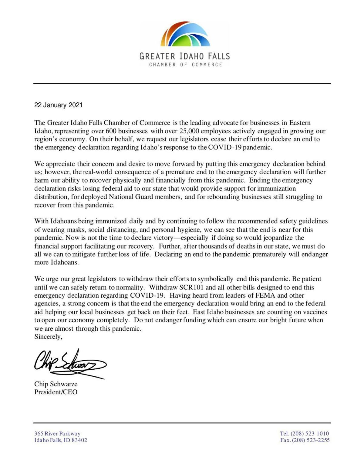 Chamber of Commerce Letter