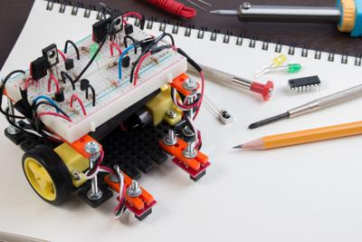 DIY Electronic Kit , Line tracking robot competition ideas. closeup.