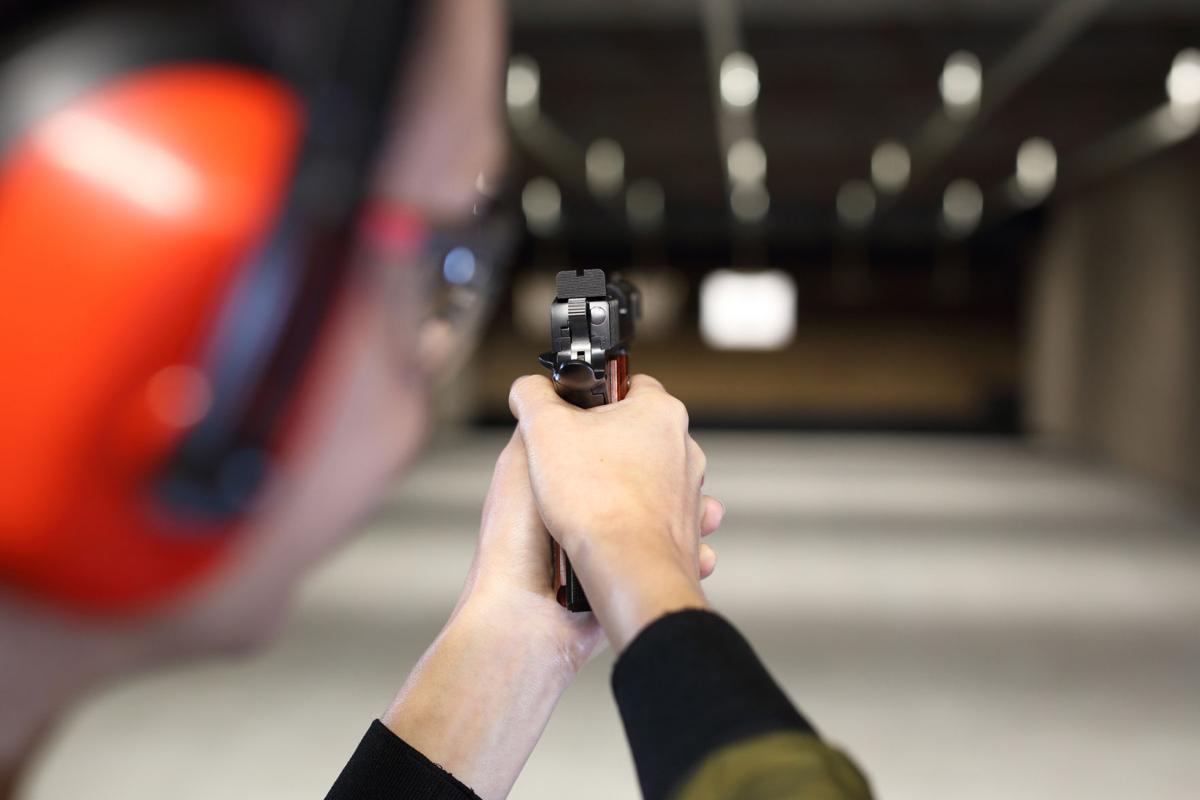 Shooting range. Shooting with a gun.