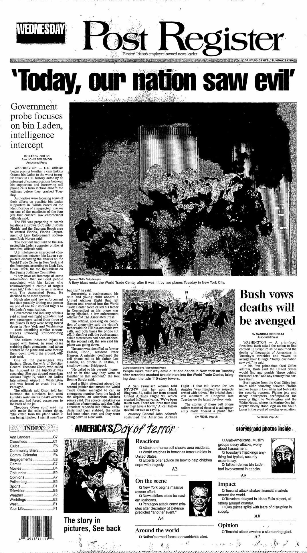 Post Register front page 9/12/01