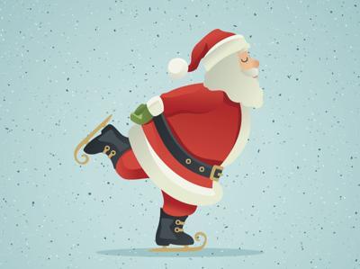 Santa Claus ice-skate