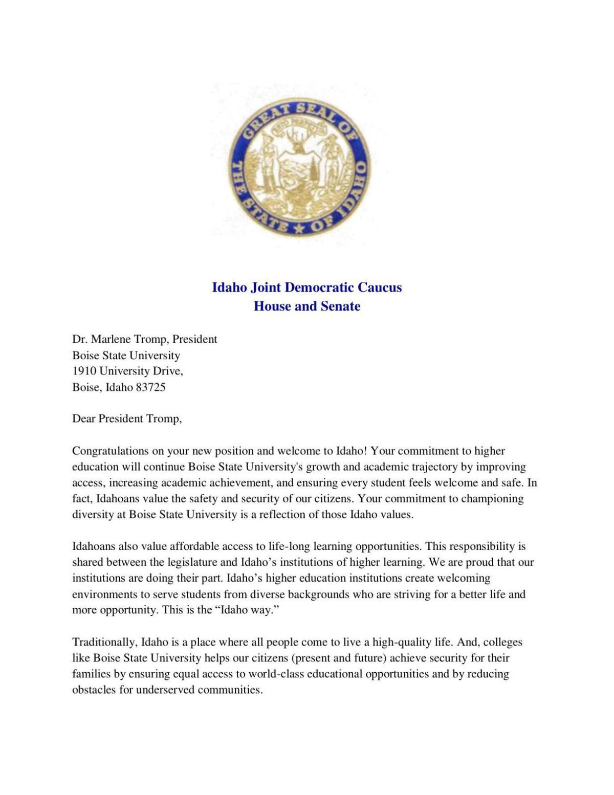 Dems Letter to Tromp