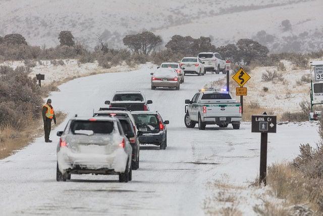 Winter road closure in Yellowstone