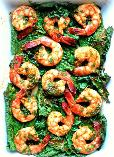 Chermoula Shrimp and Kale Bake