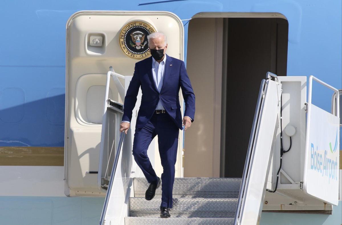 Joe Biden arriving in Boise