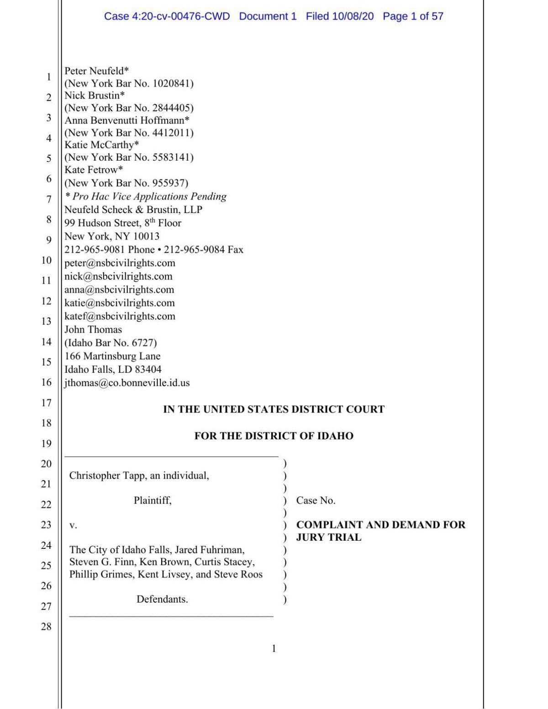 Christopher Tapp lawsuit vs. city of Idaho Falls, IFPD