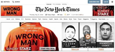 """A banner advertisement on the New York Times website promotes the six-part documentary series """"Wrong Man."""" The series, which debuts Sunday on Starz, examines the murder conviction of Idaho Falls man Christopher Tapp. The series is from Emmy-winning and Academy Award-nominated documentary filmmaker Joe Berlinger.  screenshot"""