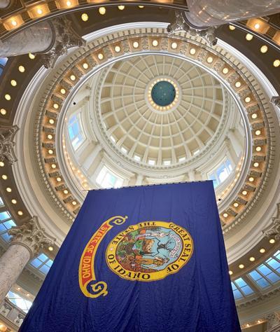 Idaho flag and capitol