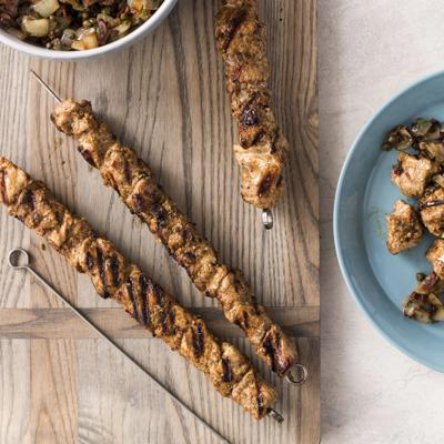Food Column ATK Grilled Spiced Pork Skewers with Onion and Caper Relish
