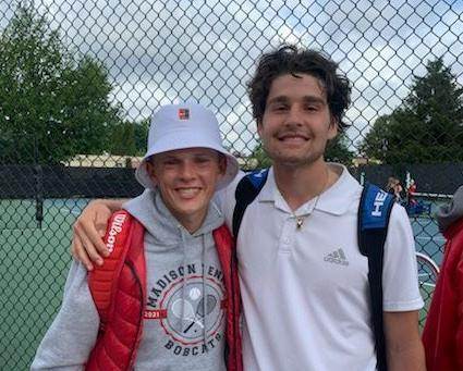Madison's Ethan Andreason and Joe Pigott pose for a photo after placing second at the state tennis tournament.