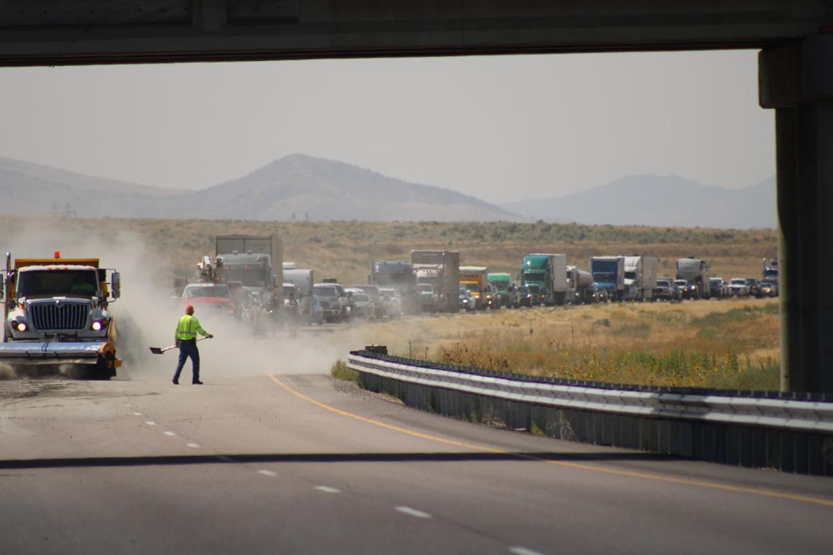 Sweeping Gravel off freeway