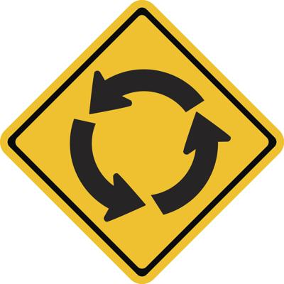 Warning traffic sign, Roundabout