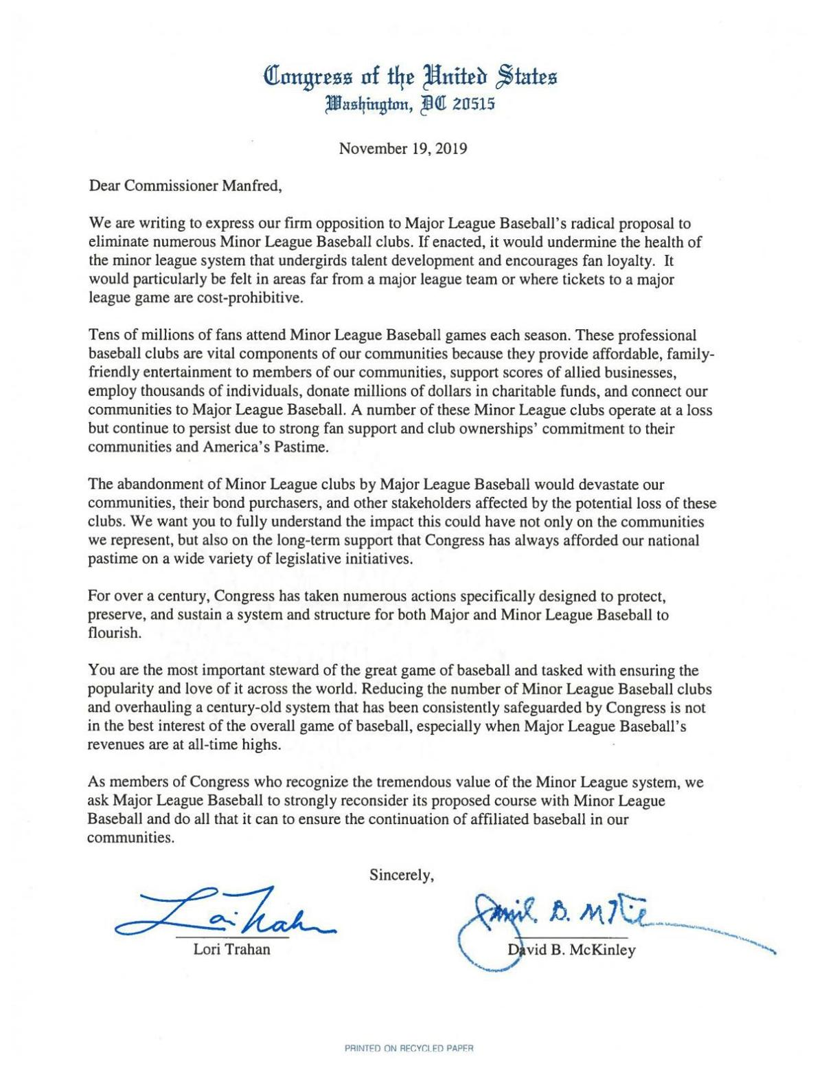 Letter to Commissioner Manfred