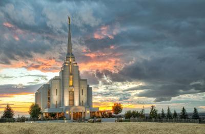 Rexburg Idaho Temple Harvest Sunset -- Getty Images