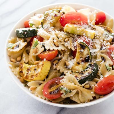 Food Column ATK Farfalle with Zucchini Tomatoes and Pine Nuts