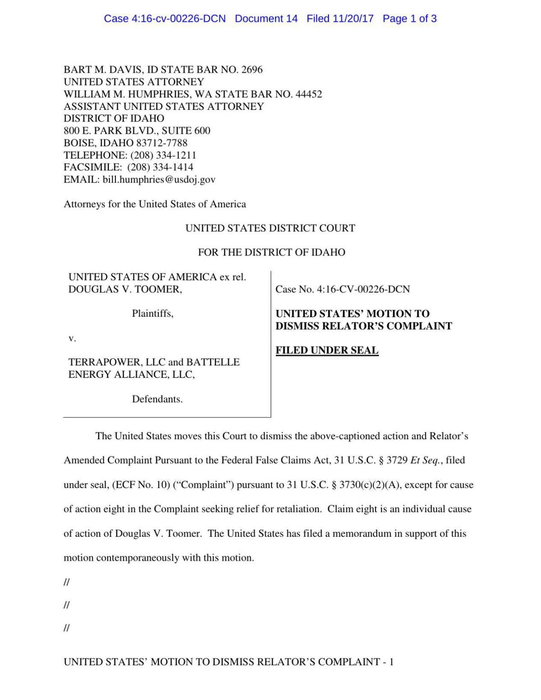U.S Attorney's motion