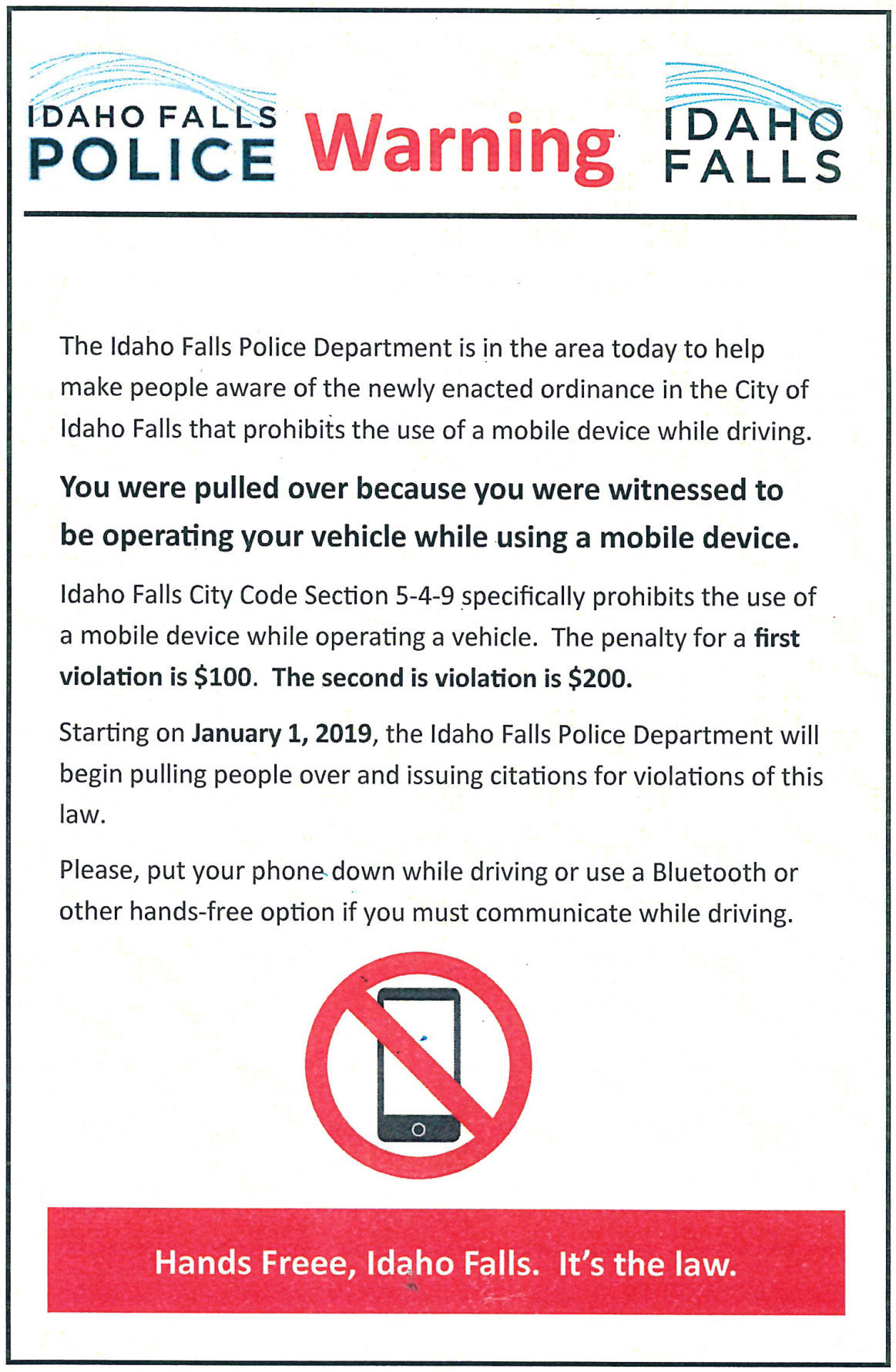 Warning - cellphones while driving