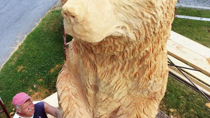 A stump of artistry chainsaw carver turns wood into works