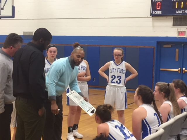 fort edward girls basketball coach jason thomas center talks to his players during a timeout in friday nights adirondack league game against fort ann at