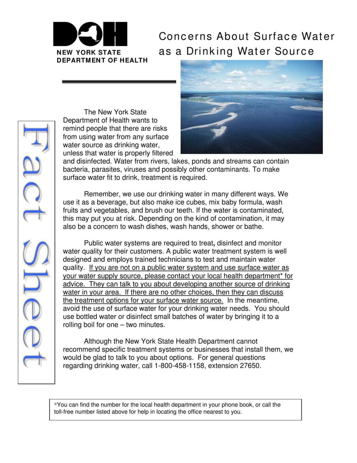 Concerns About Surface Water as a Drinking Water Source