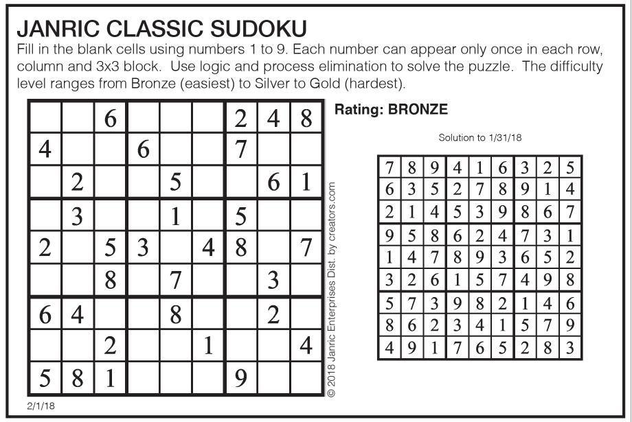 sudoku   Puzzles & Comics   poststar com