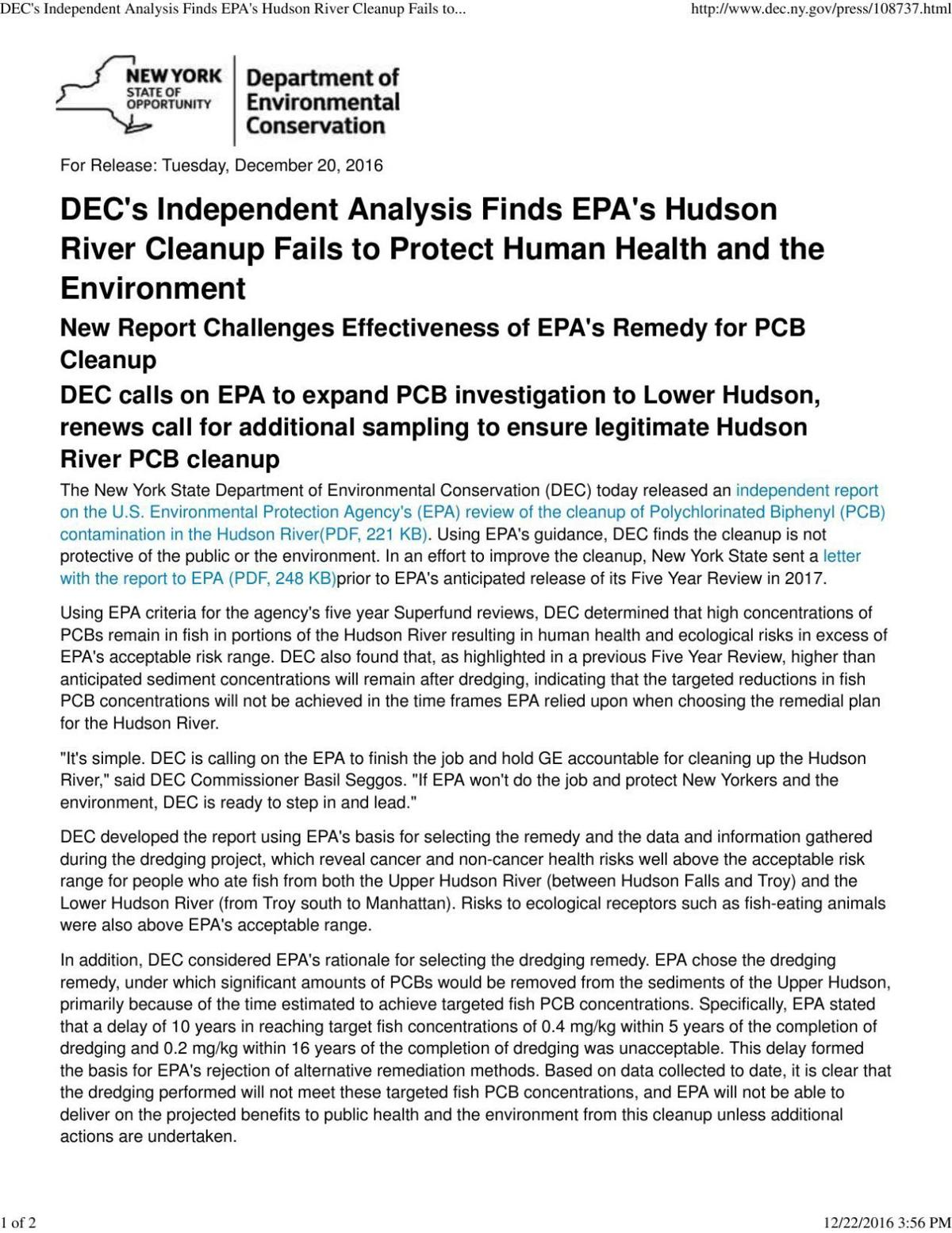 Decs Independent Analysis Finds Epas Hudson River Cleanup Fails To