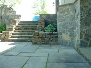 Dry stone steps and planters