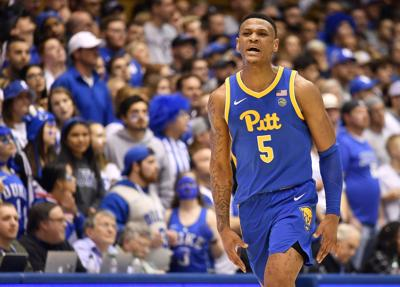 In this photo from January 28, 2020, Au'Diese Toney of the Pittsburgh Panthers reacts during the second half against the Duke Blue Devils at Cameron Indoor Stadium in Durham, North Carolina.
