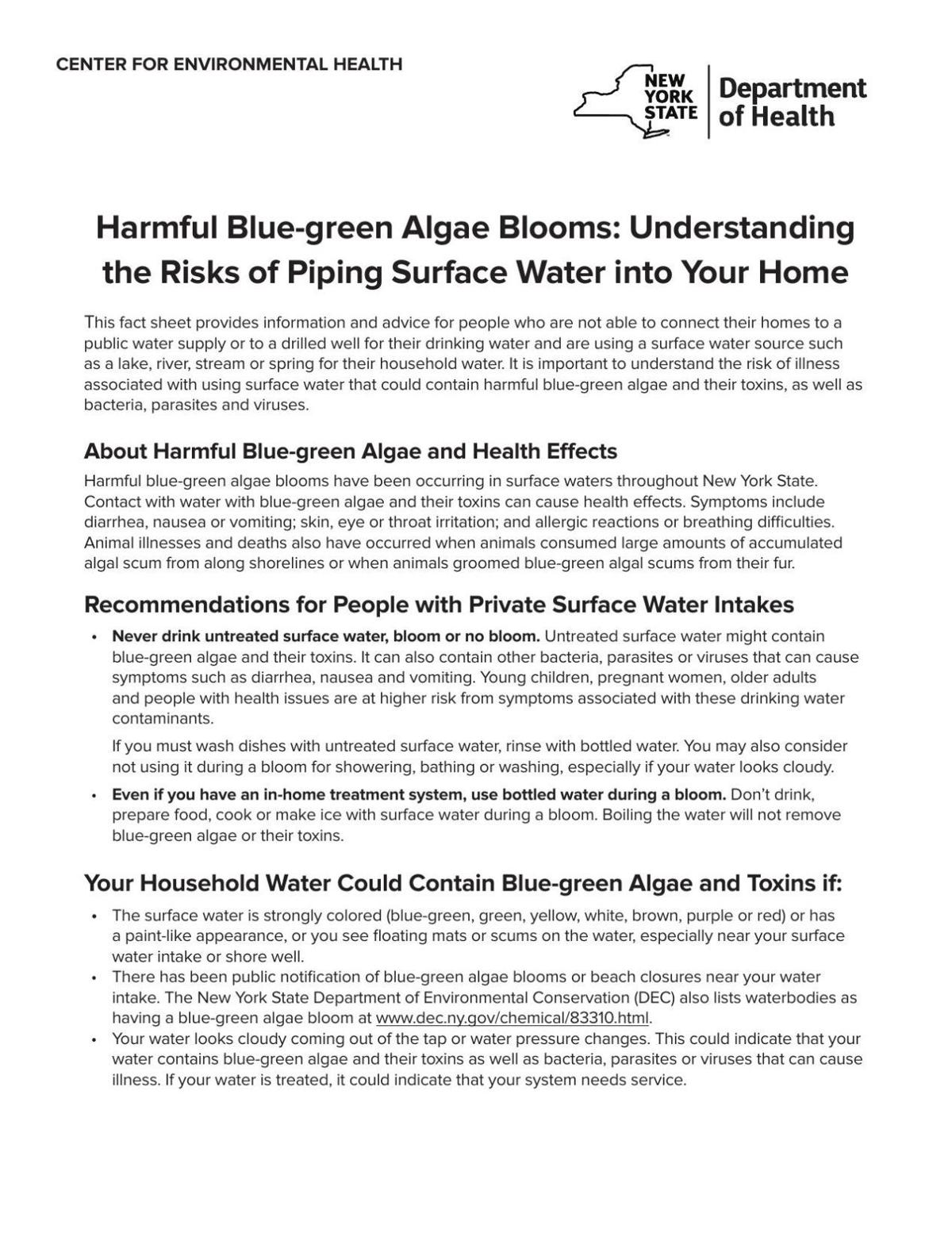 Harmful Blue-green Algae Blooms: Understanding the Risks of Piping Surface Water into Your Home