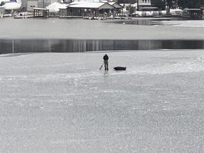Harris Bay ice fisherman 12/22