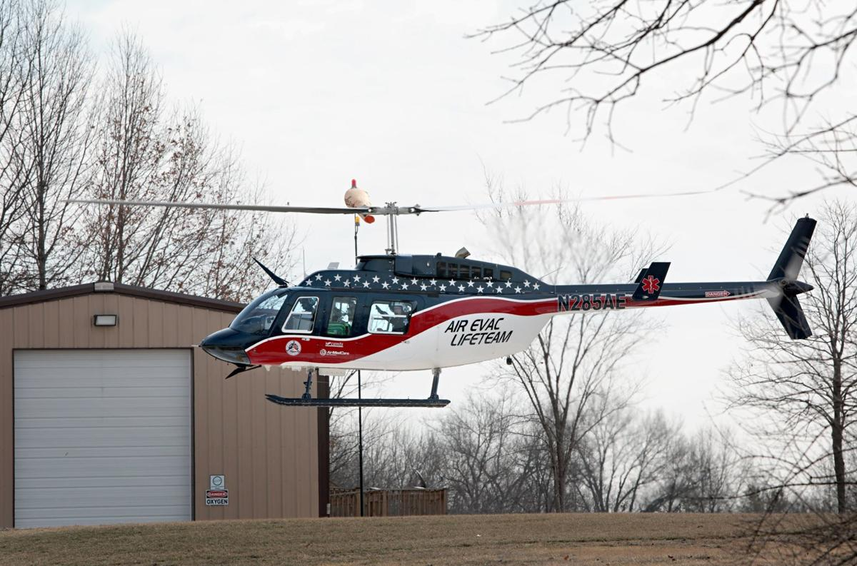 Air Evac helicopter in Troy, Mo