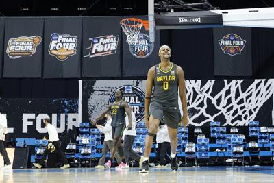 Flo Thamba #0 of the Baylor Bears celebrates after winning the National Championship game of the 2021 NCAA Men's Basketball Tournament against the Gonzaga Bulldogs at Lucas Oil Stadium on April 5, 2021 in Indianapolis, Indiana.