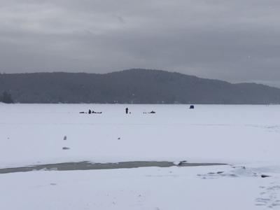 Schroon Lake ice fishing