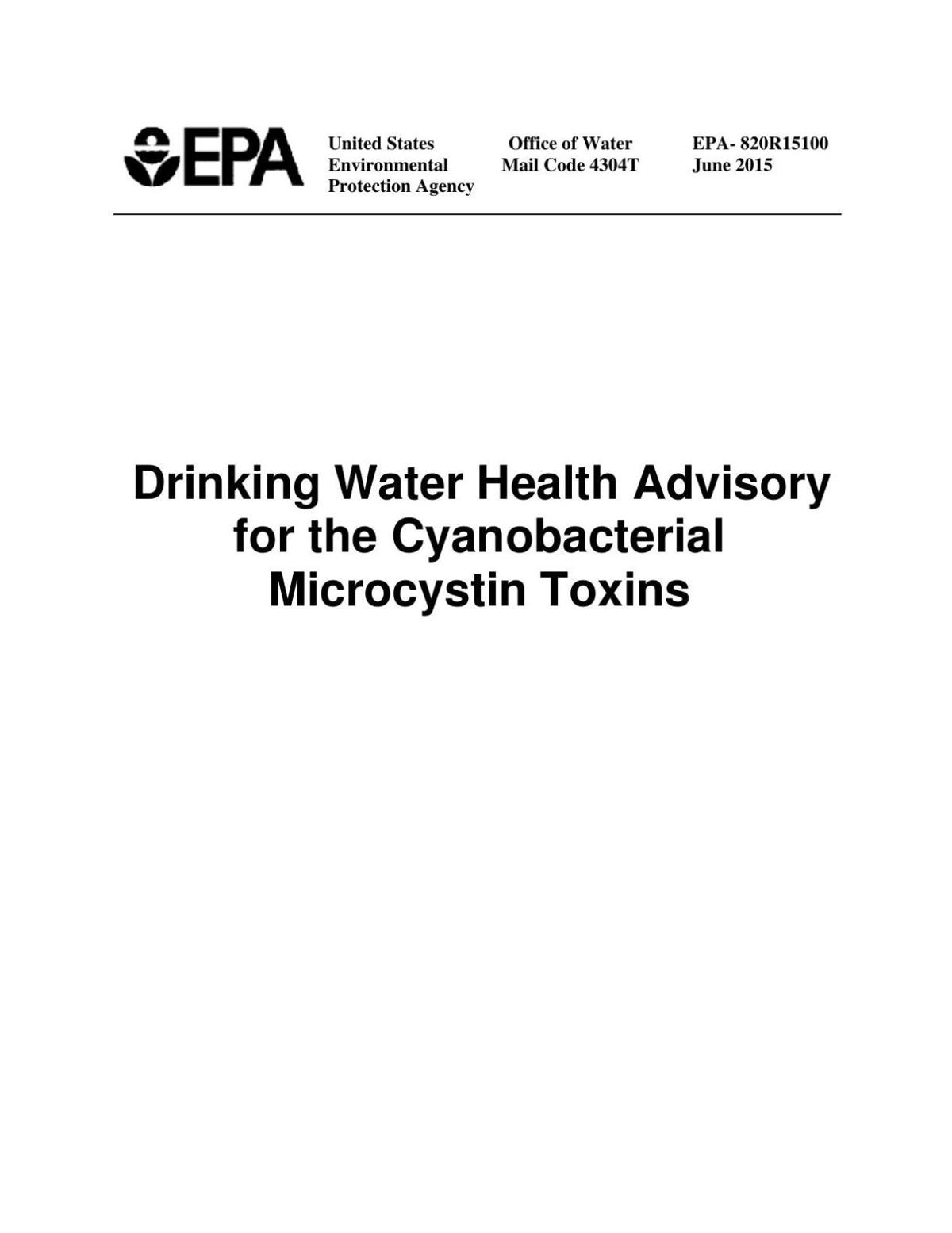 EPA: Drinking water health advisory for micyrocystins