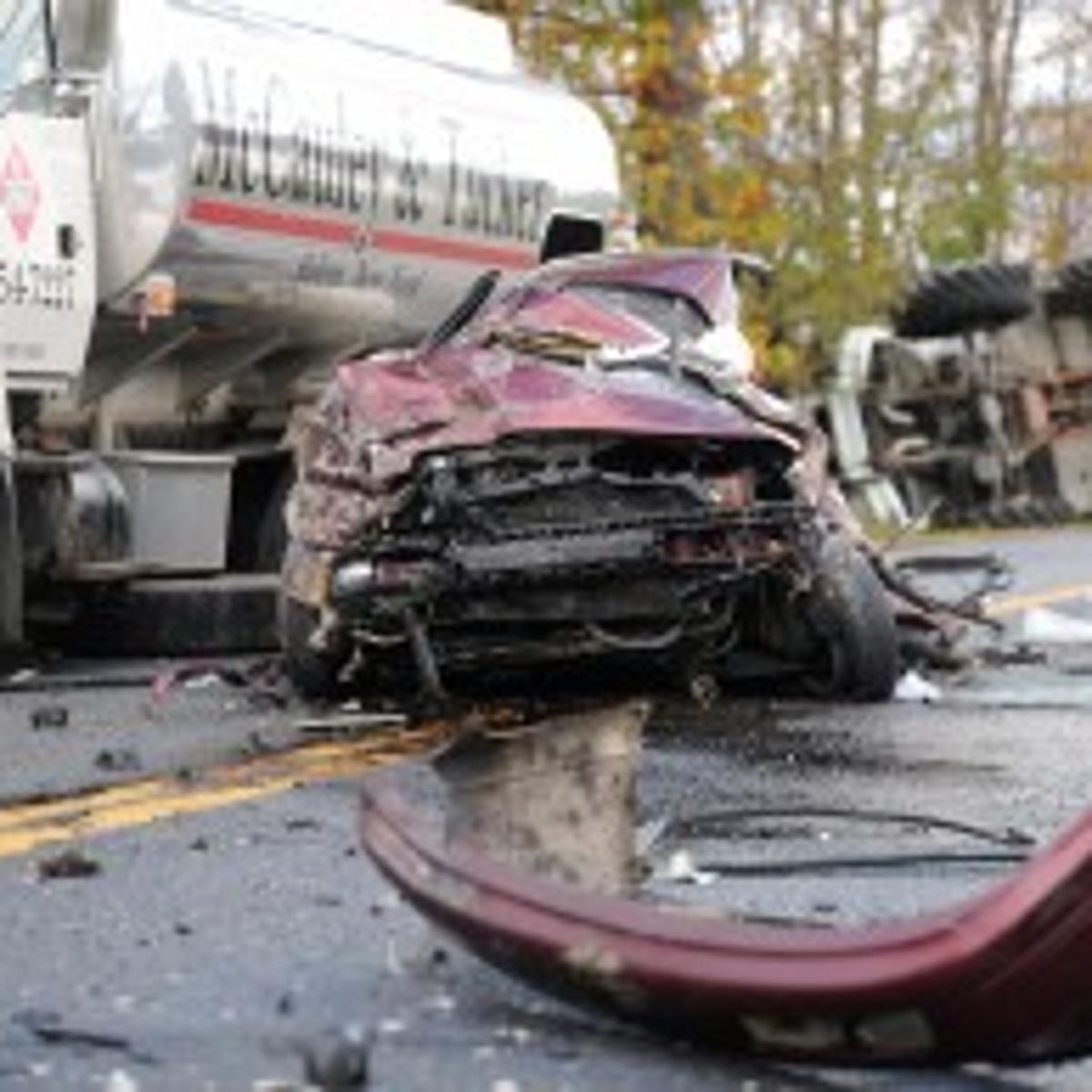 Two hurt in car-oil truck-dump truck crash on Route 22 in
