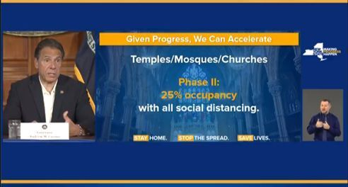Cuomo says religious institutions can reopen at 25% capacity