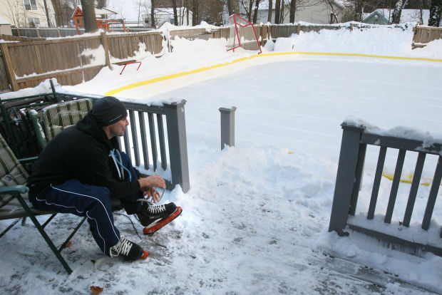 Ice by the yard: Families enjoy skating on homemade rinks ...