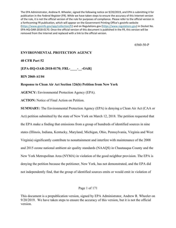 EPA denies New York's clean air petition