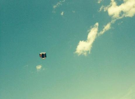 Blown aloft